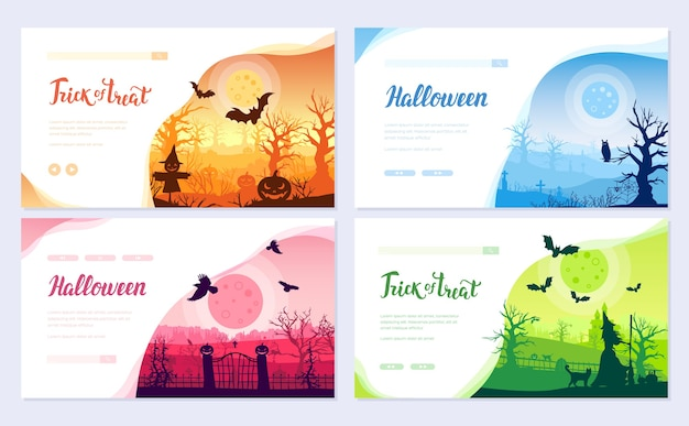 Halloween time brochure card set. landscape template of flyear, web banner, ui header, enter site.