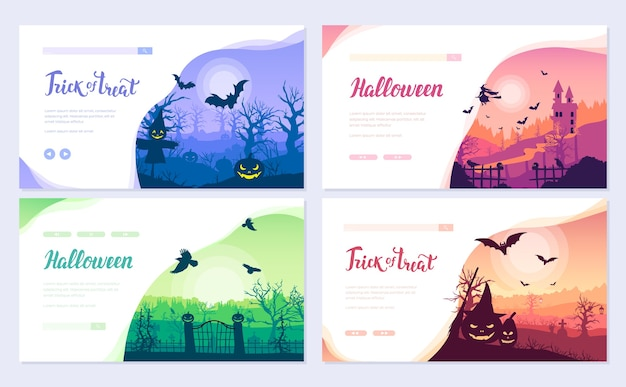 Halloween time brochure card set
