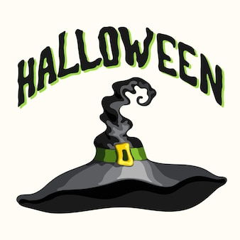 Halloween title and cartoon style vector black witch hat isolated on the white background