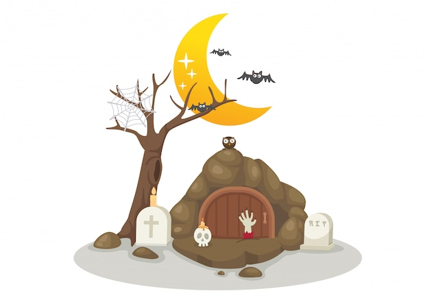 Halloween tombs vector