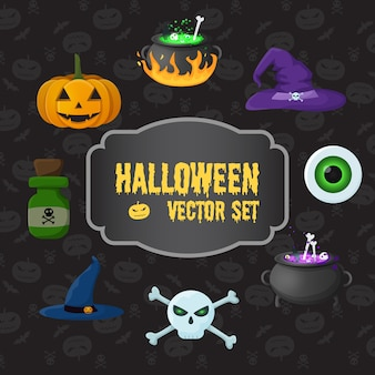 Halloween traditional elements set with pumpkin skull crossbones poison bottle witch hats eye cauldrons with potion