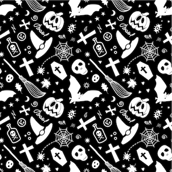 Halloween traditional spooky items isolated forming seamless pattern