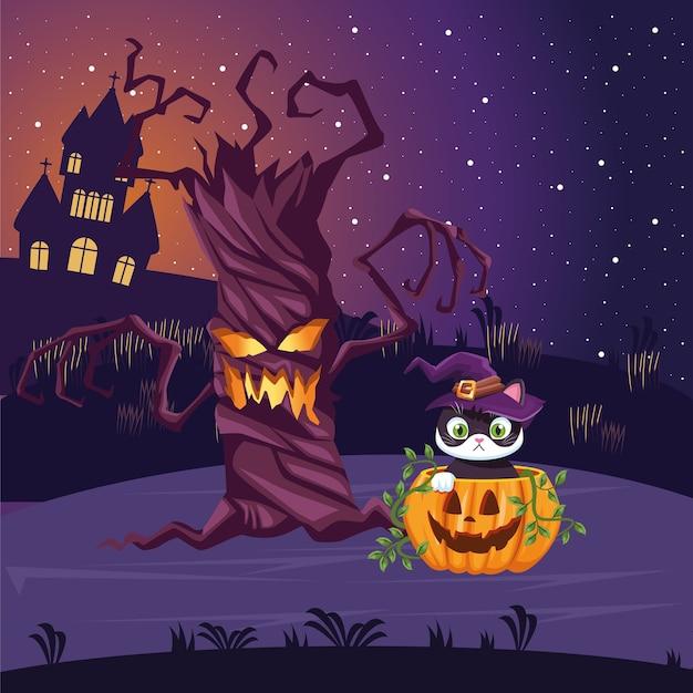 할로윈 나무와 호박 고양이 만화 디자인, 휴일 및 무서운 테마