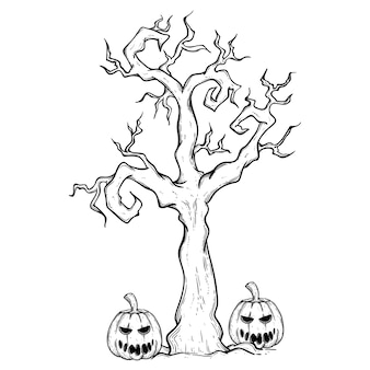 Halloween tree and pumpkin with spooky face using hand drawing style