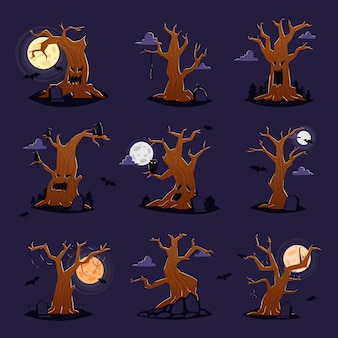 Halloween tree vector scary character treetops of horror in spooky forest illustration set of forestry wood or evil oak monster of nightmare isolated on background