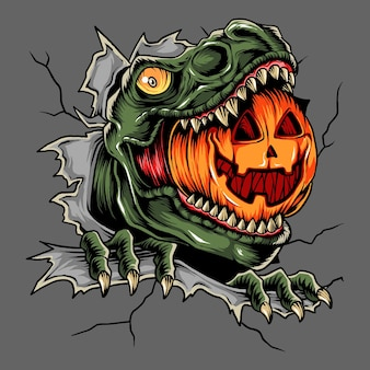 Halloween trex head eats halloween pumpkin and this design is perfect for halloween night vector