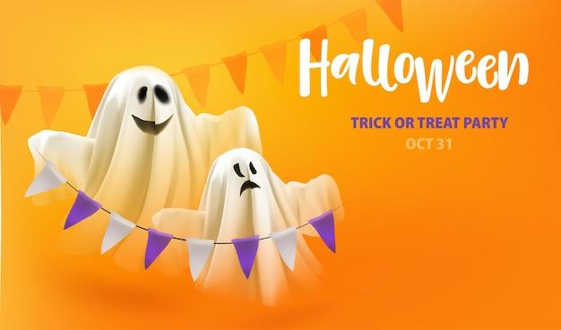 ハロウィーンのトリックまたはテキストハロウィーンのトリックまたは...でオレンジ色の背景に花輪でパーティーの幽霊を扱います。