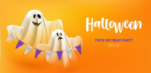 Хэллоуин трюк или угощение призраками с гирляндой на оранжевом фоне