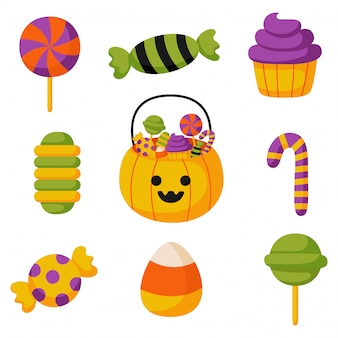 Halloween trick or treat candies flat isolated on white background.