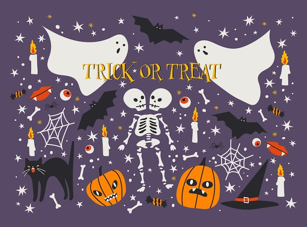 Halloween trick or treat collection with various elements template for halloween card or poster