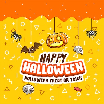 Halloween trick or treat greeting banner and poster, pimpkin, bat, spider -