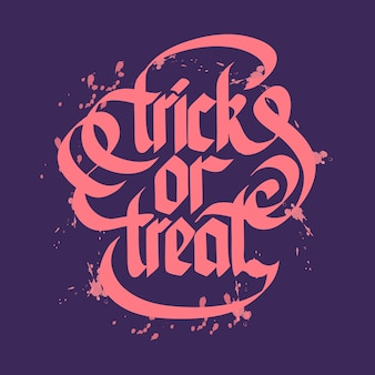 Halloween trick or treat typographical lettering with pink letters