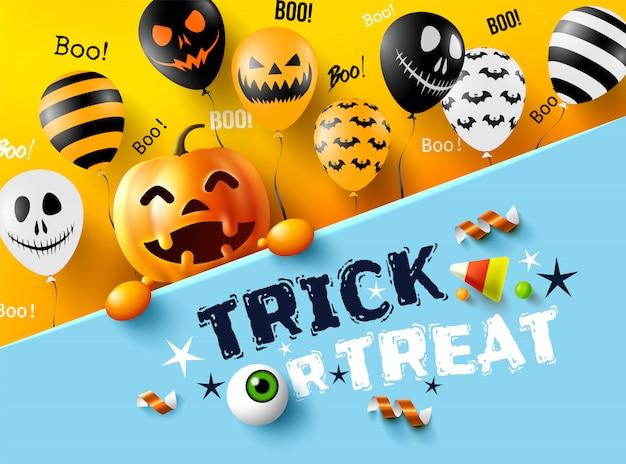 Halloween trick or treat with happy halloween pumpkin