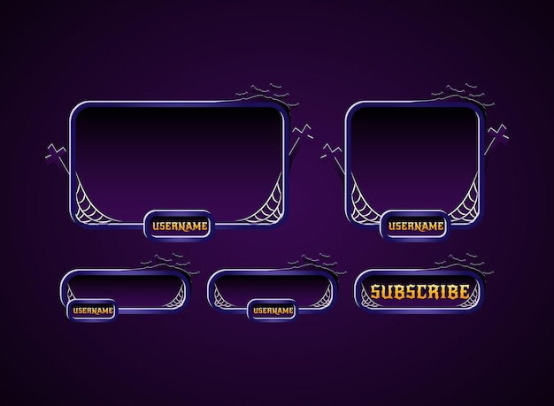 Halloween twitch stream panels overlay design with spider web, cross, and bat silhouette