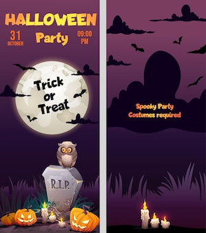 Halloween two sides poster flyer design gravestone tomb candles and scary pumpkins in cemetery