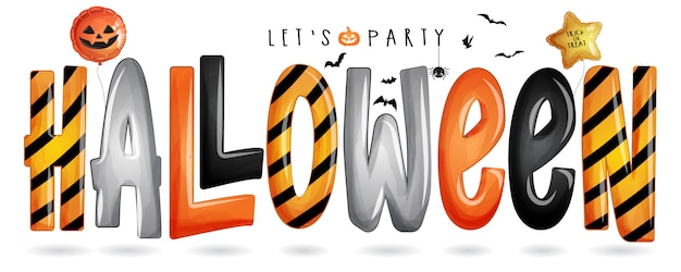 Halloween typography for halloween day with watercolor illustration