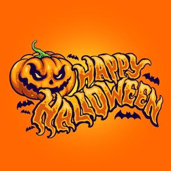 Halloween typography with jack o lantern