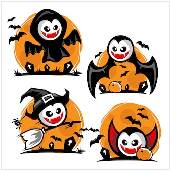 Halloween vampire cartoon logo set