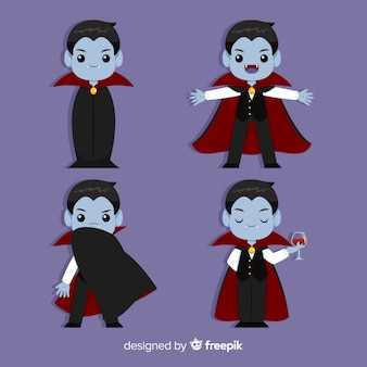 Halloween vampire collection with flat design