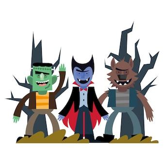 ハロウィーンの吸血鬼フランケンシュタインと狼男の漫画、幸せな休日と怖い