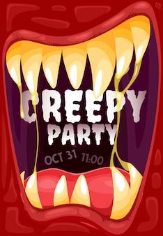 Хэллоуин вампир рот плакат вечеринки монстров