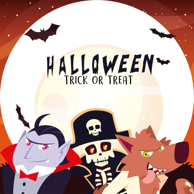 Halloween vampire skull pirate and werewolf cartoon at night design, holiday and scary theme illustration