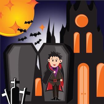 Вампир на хэллоуин с христианским крестом в гробу на сцене кладбища