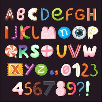 お菓子やキャンディーで作られた文字と数字のハロウィーンのベクトルアルファベット。パート1/3