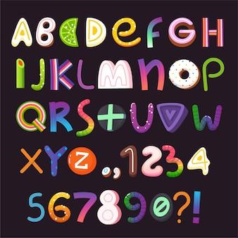 お菓子やキャンディーで作られた文字と数字のハロウィーンのベクトルアルファベット。パート2/3