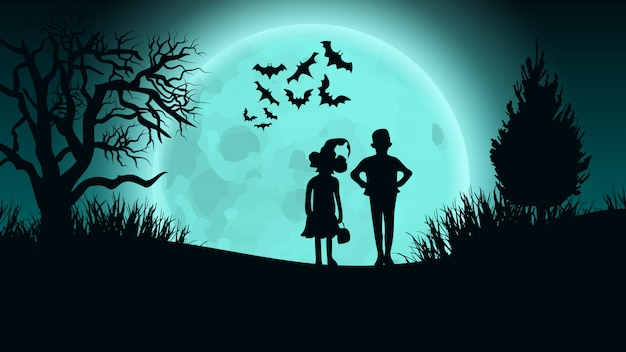 Halloween vector background. kids on moon road.