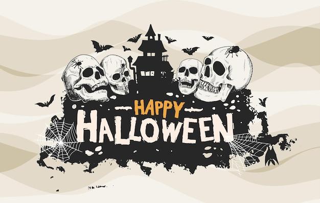 해골과 유령 같은 집 손으로 그린 실루엣 스타일 할로윈 벡터 디자인