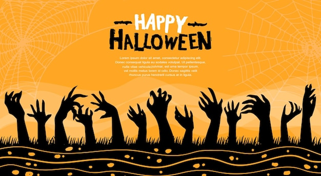 Хэллоуин векторный дизайн с силуэтом руки зомби на оранжевом фоне