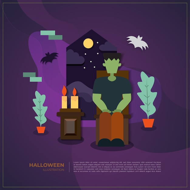 Halloween vector frankenstein illustration background.