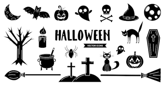 Halloween vector icons set. black holiday pictograms collection. halloween lettering.