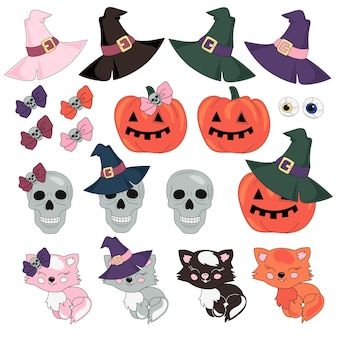 Halloween vector illustration set masquerade