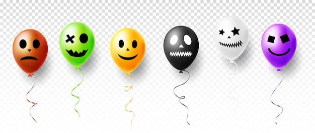 Хэллоуин векторные иллюстрации с забавными персонажами воздушные шары, изолированные на прозрачном фоне