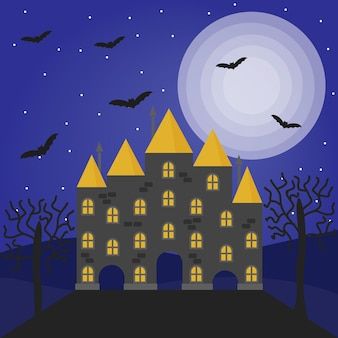 Halloween vector illustration with haunted house full moon trees and bats