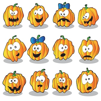 Halloween vector illustration with a lot of pumpkins