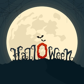Halloween vector lettering text on the moonlight. use for greeting cards or party invitations.