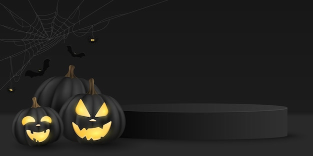Halloween vector minimal 3d scene for display your product. 3d vector emotional cartoon black pumpkin with cobweb, spider and bats. festive podium platform
