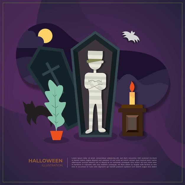 Halloween vector mummy illustration background.