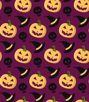 Halloween vector seamless pattern with pumpkin, skull, witch hat in trendy flat style.