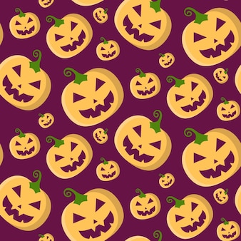 Halloween vector seamless pattern with pumpkins in trendy flat style.