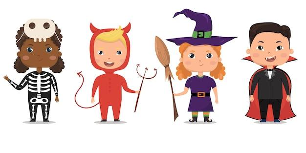 Halloween vector set children in halloween costumes