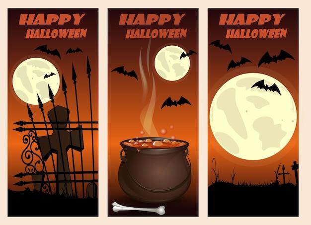 Halloween vertical banners set. happy halloween design.