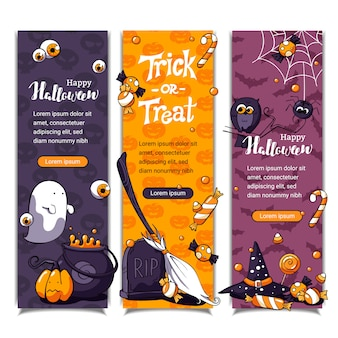 Halloween vertical banners with pattern and halloween elements