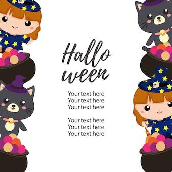 Halloween vertical border lovable kids character