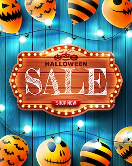 Halloween vertical sale banner with scary balloons