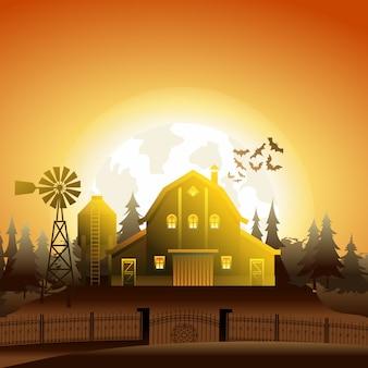 Halloween village zombie house in sunset light.