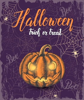 Halloween vintage background with hand drawn colored halloween pumpkin